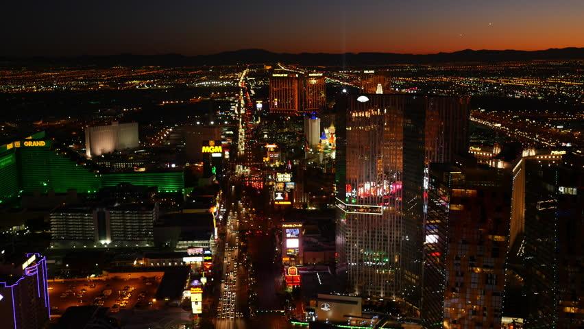 Las Vegas, Nevada, USA - November 26, 2014: Aerial view of Las Vegas Strip at night | Shutterstock HD Video #9002104