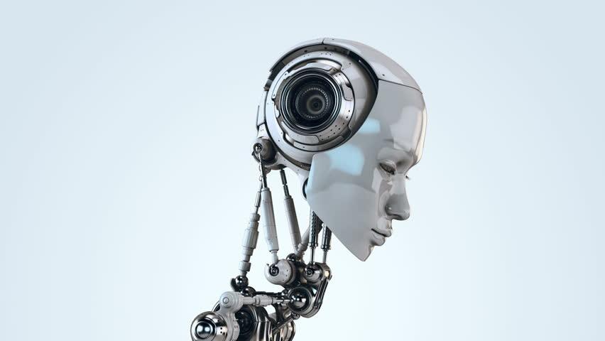 Stylish robotic girl/ Cute robot woman turning head