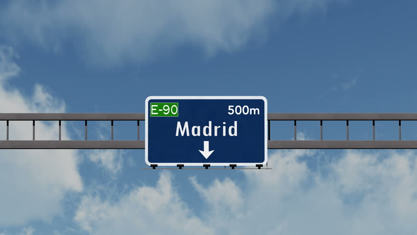 4K Passing under Madrid Spain Highway Sign with Matte Photorealistic 3D Animation 4K 4096x2304 ultra high definition