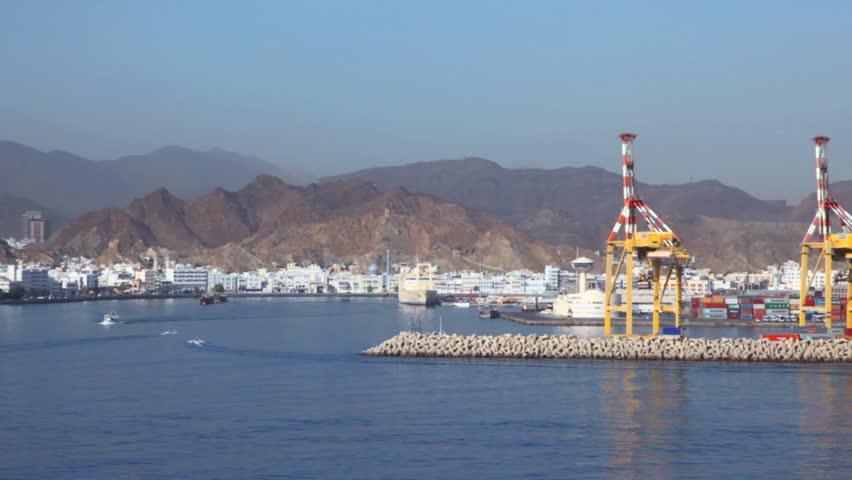 seaport of Muscat, Oman, view from moving ship