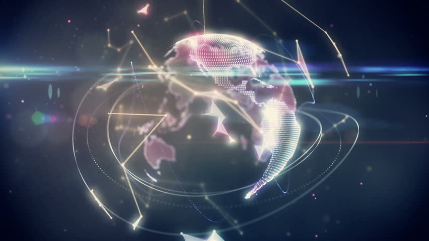 Digital animation of Connecting lines with earth graphic | Shutterstock HD Video #9133694