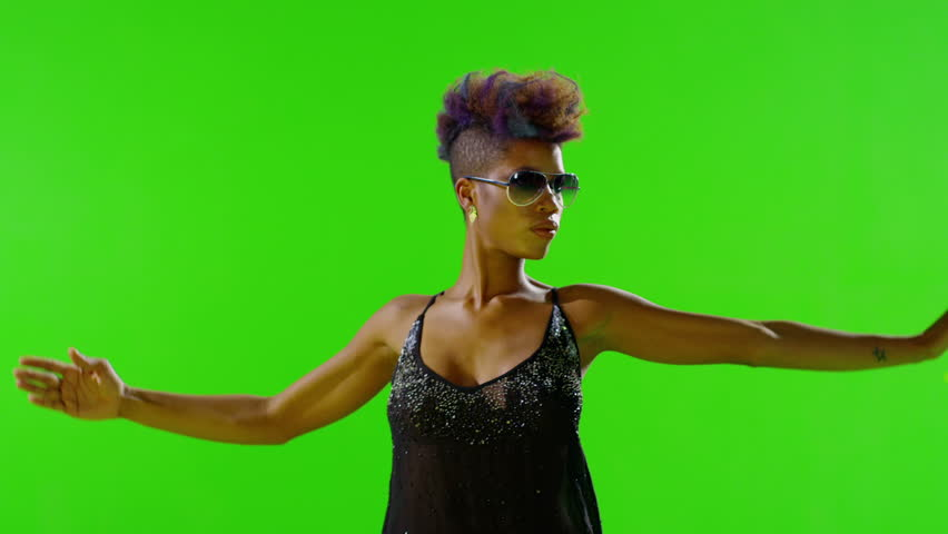 FEW SHOTS! African Stylish Girl Dancing On Green Screen. Real Strobe Light On Body. Slow Motion. Few shots.