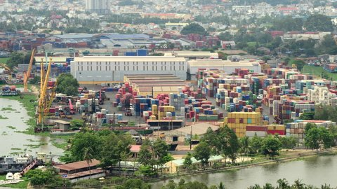 Time Lapse of Busy Shipping Container Port in Ho Chi Minh City (Saigon) - Circa August 2014