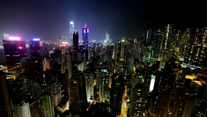 Time Lapse of Hong Kong Skyline and Victoria Harbour at Night - Hong Kong China | Shutterstock HD Video #9143834