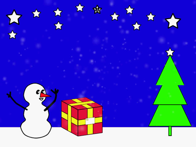 a animated christmas scene with moving snow and a moving star - Animated Christmas Scenes