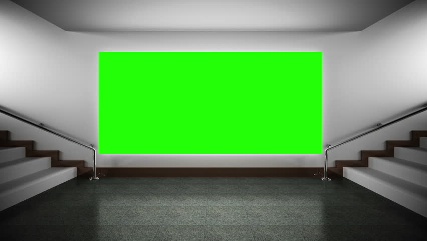 Projection Screen With A Green Background In The Classroom