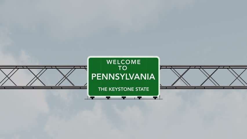 4K Passing under Welcome to Pennsylvania State USA Interstate Highway Sign with Matte Photo Realistic 3D Animation 4K 4096x2304 ultra high definition