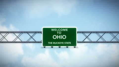 4K Passing under Welcome to Ohio State USA Interstate Highway Sign with Matte Photo Realistic 3D Animation 4K 4096x2304 ultra high definition