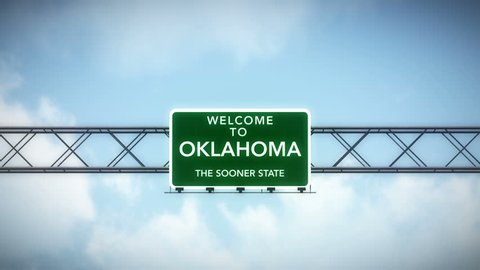 4K Passing under Welcome to Oklahoma State USA Interstate Highway Sign with Matte Photo Realistic 3D Animation 4K 4096x2304 ultra high definition
