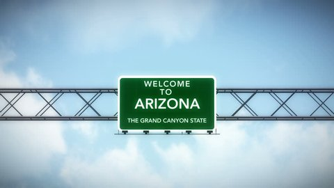 4K Passing under Welcome to Arizona State USA Interstate Highway Sign with Matte Photo Realistic 3D Animation 4K 4096x2304 ultra high definition