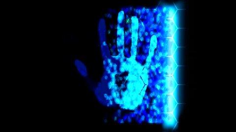 Hand scanner handprint fingerprint palm password id blue