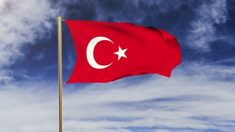 Turkey flag waving in the wind. Looping sun rises style.  Animation loop. Green screen, alpha matte. Loopable animation
