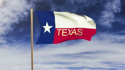 texas flag with title waving in the wind. Looping sun rises style.  Animation loop