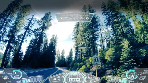 car driving pov animation motion graphics hud GPS technology reality satellite