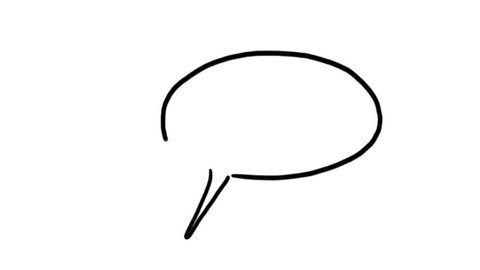 Animation of real time drawing. Different shapes of cartoon speech balloons. With alpha channel included.
