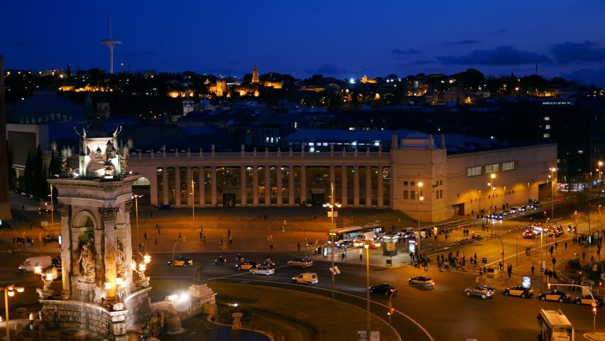 Night view of Placa De Espanya( Square of Spain). Barcelona, Spain. UHD, 4K