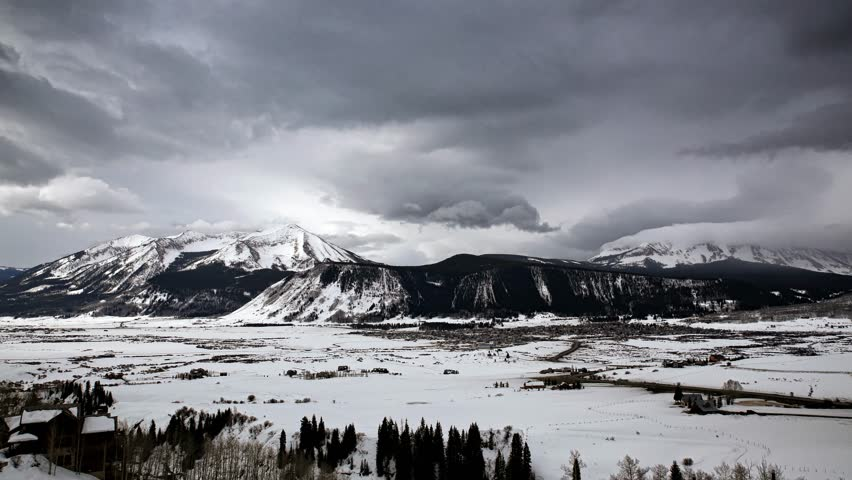 Stationary time-lapse of a late winter weather system moving into the Crested Butte, Colorado area