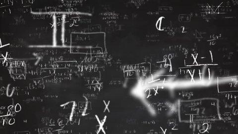 School Math Equations on Chalkboard Flyby Loop