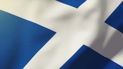 Scotland flag waving in the wind. Looping sun rises style.  Animation loop