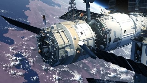 Spacecraft Docking To Space Station. 3D Animation.