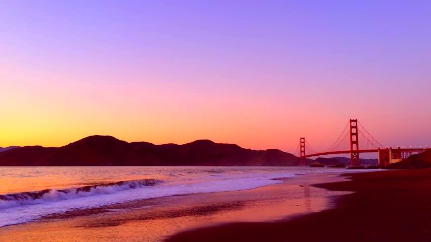 The Golden Gate Bridge As Seen From Baker Beach At Sunset San Francisco California Usa