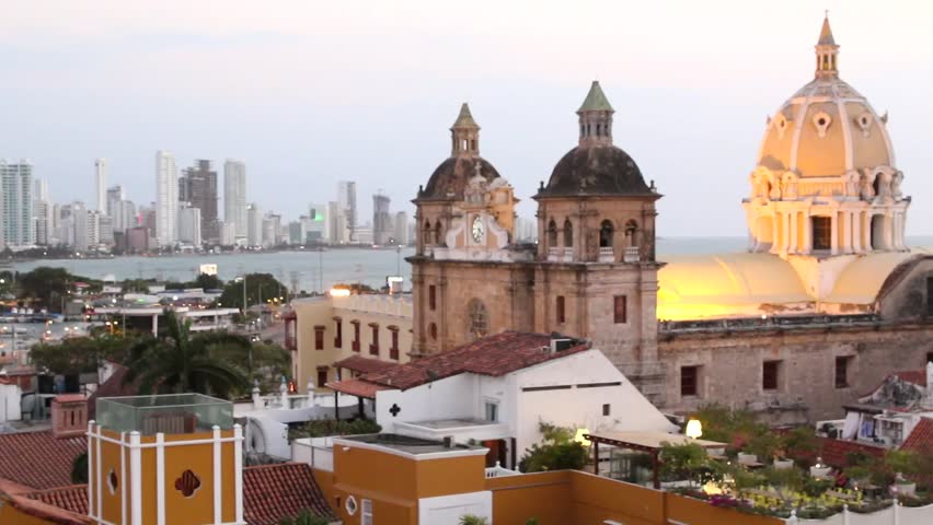 Time-lapse Cartagena, Colombia skyline. Historic city center, bocagrande and port