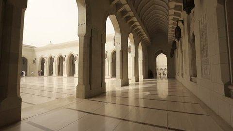 Long corridor of the Grand Mosque Sultan Qaboos