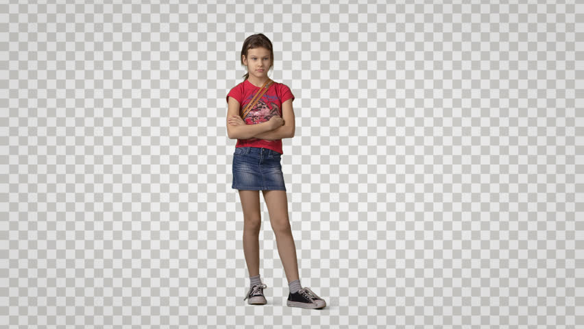Little girl in red t-shirt stands, looks, waits somebody. Front view. Footage with alpha channel. File format - mov. Codec - PNG+Alpha Combine these footage with other people to make crowd effect