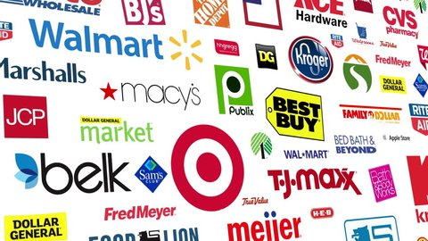 Editorial animation: Seamlessly loopable animation of a compilation of major US retail chains.  All logos and trademarks remain property of their respective owners.  Editorial only.