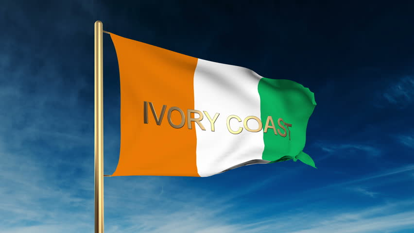 ivory coast flag slider style with title waving in the wind with cloud background animation