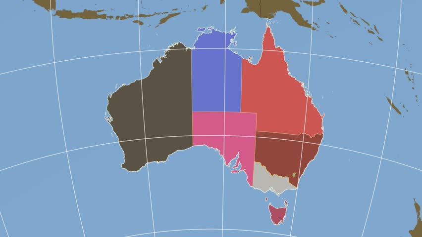 Tasmania Extruded On The Administrative Map Of Australia Solid