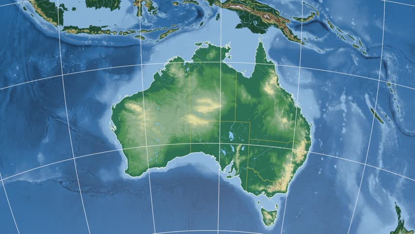 Australian Capital Territory Extruded On The Physical Map The - Australia elevation data