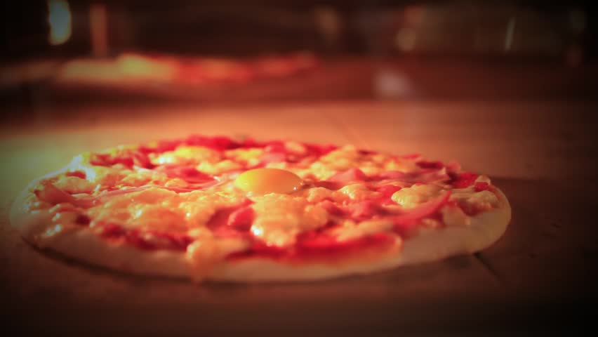 Pizza baking in traditional oven. Close up. HD. 1920x1080 #9487901