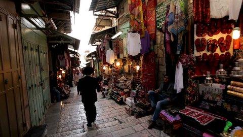 JERUSALEM, ISRAEL - FEB 09, 2015: Steadicam arabic bazaar street market Feb 08, 2015 in Old city