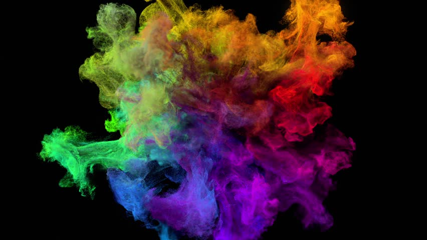 "Color explosion on black ""Spectrum"" (with alpha matte, full hd) 