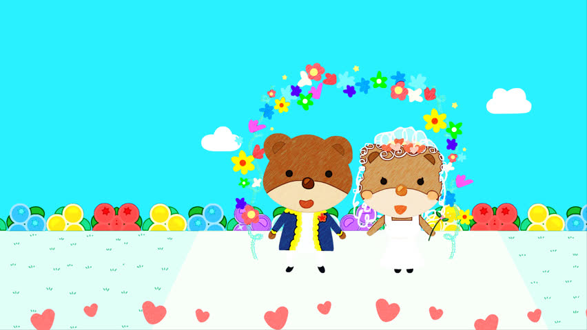 Cartoon animation of bear wedding couple and their pet, a mini Schnauzer dog/ hand drawing color pencil effect illustration/ blue sky and flower garden scene in the background, heart shape flying/ #9560072