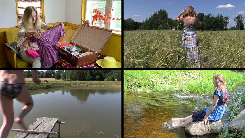 Summer holiday. Woman pack wear. Girl jump into water. Refreshing in brook stream. Walk between wheat. Montage of video footage clips collage. Split screen. Black angular frame. 4K UHDTV 2160p #9560666