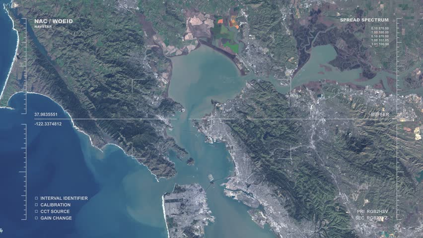 A modern-day aerial reconnaissance HUD/GUI display shows the San Francisco Bay Area and California coast passing by far below, as well as related data. Available in DCI 2K/4K by request