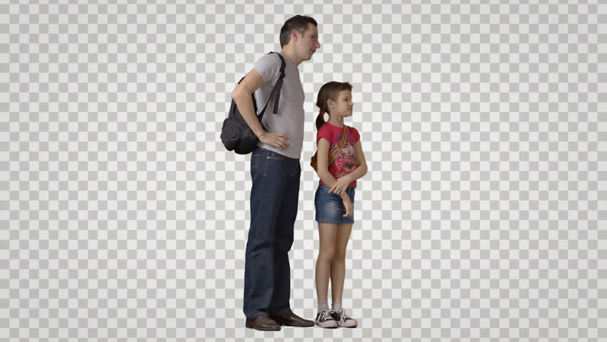 Adult man with & little girl stand, look at attractions, talk. Footage with alpha channel. File format - mov. Codec - PNG+Alpha Combine these footage with other people to make crowd effect