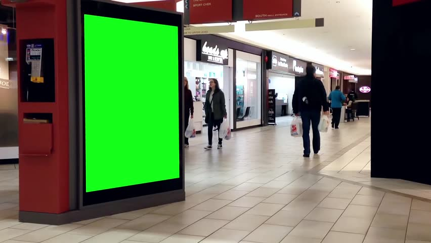 Coquitlam, BC, Canada - April 11, 2015 : Green billboard for your ad inside Coquitlam shopping mall in Coquitlam BC Canada.