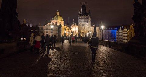 PRAGUE, MAR, 2015.  Stop Motion Timelapse, moving through gate on Charles Bridge, Czech Republic.