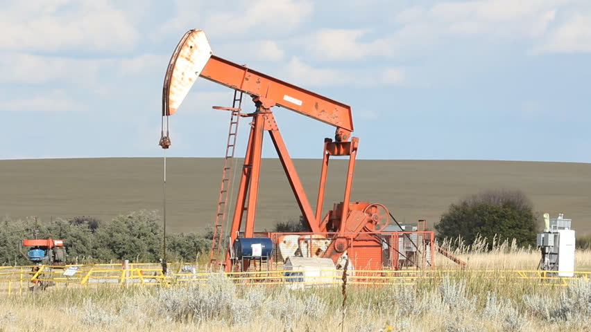 SASKATCHEWAN, CANADA on SEP 14th: Lufkin pumpjack in Saskatchewan, Canada on Sept 14, 2014. Lufkin offers services and equipment to the oil industry.