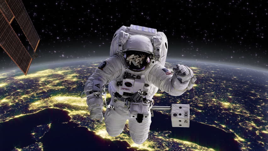 Astronaut In Space With Earth Europe Behind