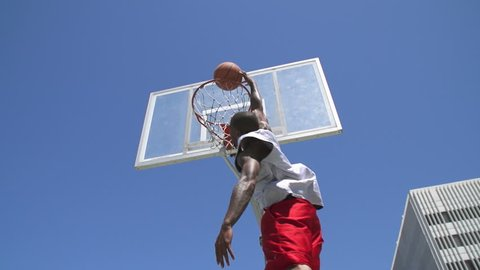 Slow Motion Basketball Player Dunking Outside