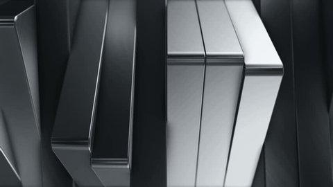 Abstract background of rotation steel boxes with reflecting of light and environment. Animation of metallic technologies and industrial metal. Animation of seamless loop.