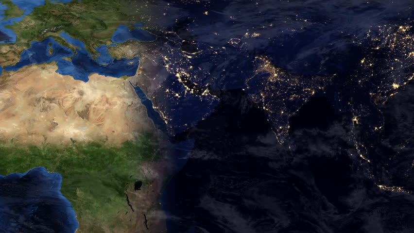 Planet Earth Zoom into the Middle East at Dusk (1080p HD)