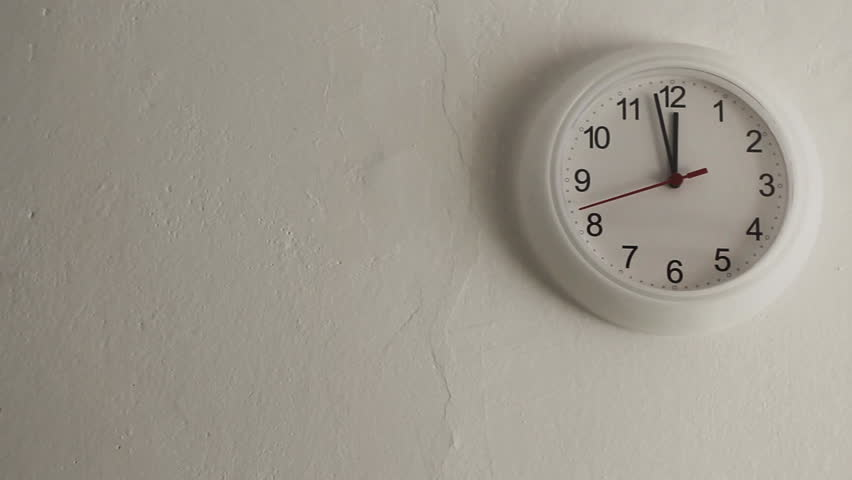 Midday. White clock hanging on wall ticking. Full HD with motorized slider. 1080p. | Shutterstock HD Video #9746474