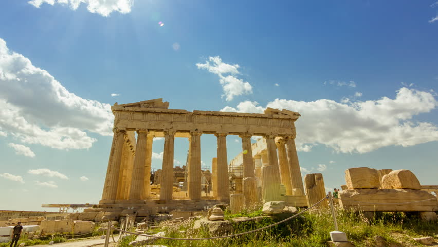 ATHENS - 27 April 2015 Acropolis Parthenon Athens,Greece.4K and  (HD) afternoon timelapse of the Acropolis/parthenon on a bright sunny day.
