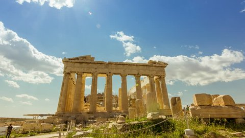 ATHENS - 27 April 2015 Acropolis Parthenon Athens,Greece.4K and  (HD) afternoon timelapse of the Acropolis/parthenon on a bright sunny day. Tourists visit the Parthenon,and general people activity.