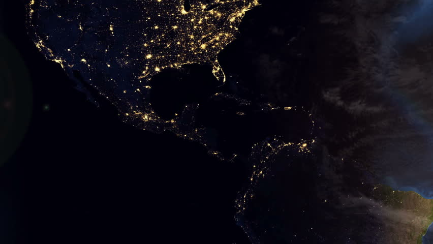 Sunrise Over USA The United States From Space Clip Contains - Us at night map